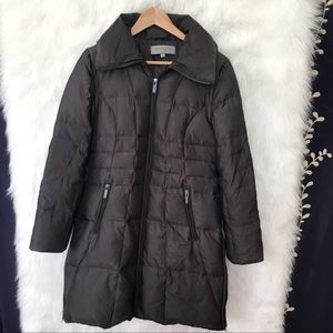 Anne Klein Gray Down Filled Long Puffer Coat